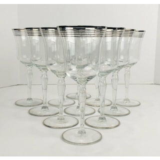 Vintage Art Deco Silver Ringed Tall Glass Stems - Set of 10 Preview