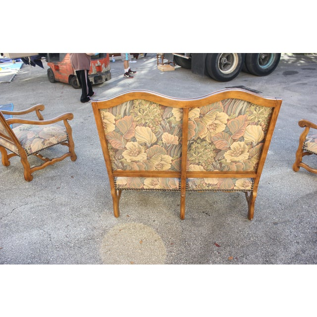1900s Louis XIII Style Os De Mouton Walnut Settee and Armchairs - Set of 3 For Sale - Image 10 of 11