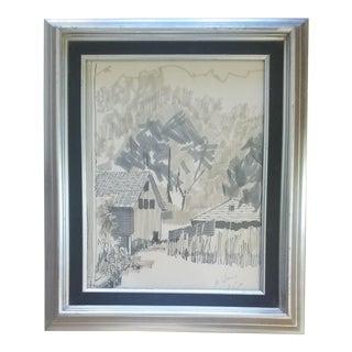 Al Lerner Country Cottage Drawing For Sale