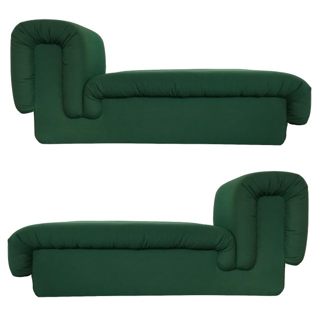 Pair of Italian Fully Upholstered Modernist Chaise Longues For Sale - Image 13 of 13