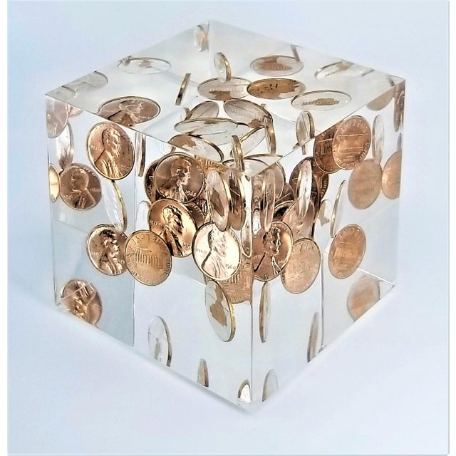 Pop Art Mid Century Modern Lucite Sculpture of Pennies Dated 1970 - Andy Warhol Abstract Surrealism Palm Beach Boho Chic For Sale - Image 12 of 12