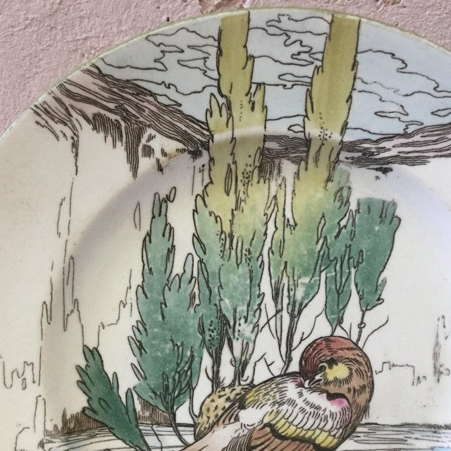 Traditional Large English Bird Plate Mintons, circa 1900 For Sale - Image 3 of 6