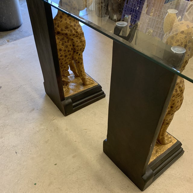 Gold Cheetah Console Table With Glass Top For Sale - Image 8 of 12