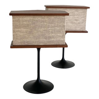 Mid Century Walnut Speakers on Pedestals - a Pair For Sale