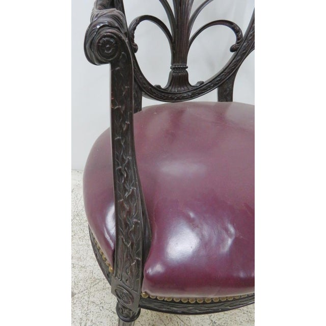 English Mahogany Carved Arm Chair For Sale - Image 5 of 9