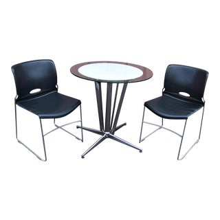 1950s Mid-Century Modern Chrome Table and Chairs - 3 Pieces For Sale