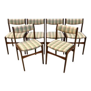 Danish Mid Century Modern Plaid Checked Wooden Dining Chairs- Set of 6 For Sale