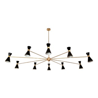 "Massive Italian Style ""Campana"" Oval Chandelier in Brass and Enamel by Blueprint Lighting"