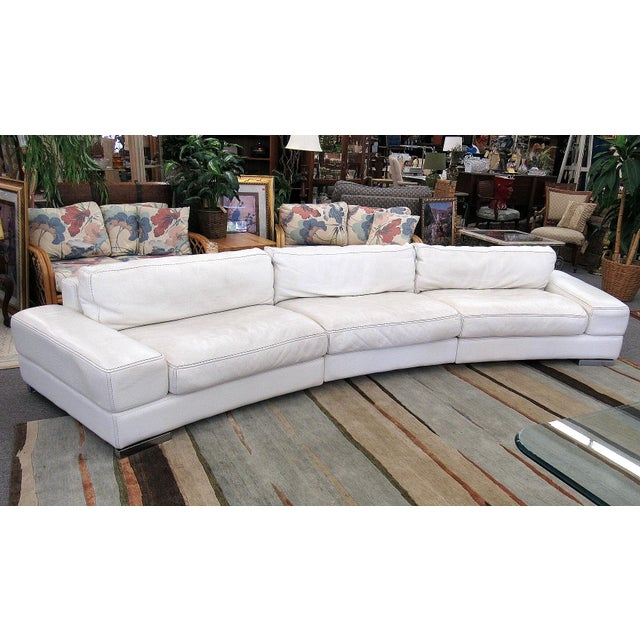 2007 Modern Roche Bobois by Polaris White Leather Modular 5 Pc. Sectional Sofa For Sale - Image 6 of 12