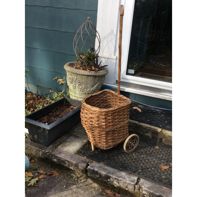 French Vintage French Woven Shopping Cart on Wheels For Sale - Image 3 of 12
