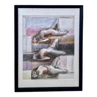 Black Artist Larry Walker Signed Original Mixed Media Painting Outsider Surrealism Figures Nudes For Sale
