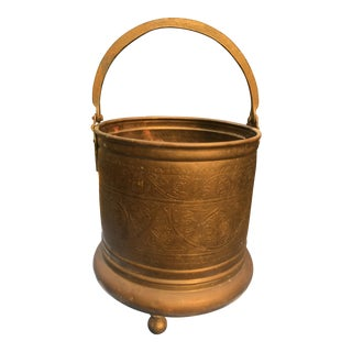 Vintage India Import Etched Brass Footed Bucket For Sale