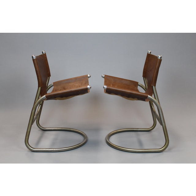 Mid-Century Italian Leather & Aluminum Chairs - A Pair - Image 3 of 6