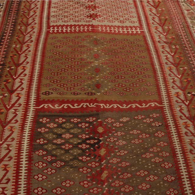 Traditional Vintage Kayseri Red and Brown Wool Kilim Rug For Sale - Image 3 of 9