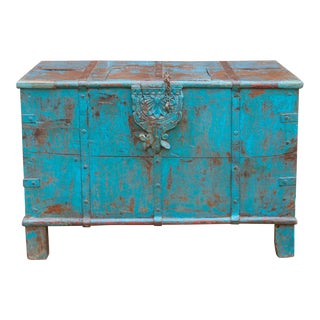 Antique Turquoise Marriage Trunk For Sale