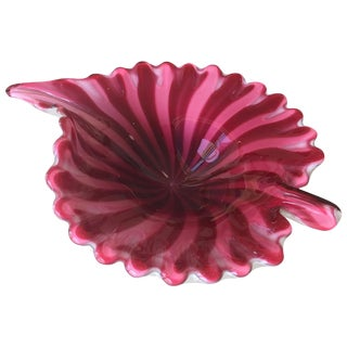 Murano Leaf Bowl Red and Pink Fratelli Toso For Sale