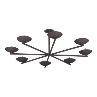 Plaster Large Spoke Chandelier in Black For Sale