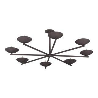 Plaster Large Spoke Chandelier in Black For Sale