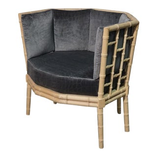 Modern Faux Bamboo Occasional Chair For Sale