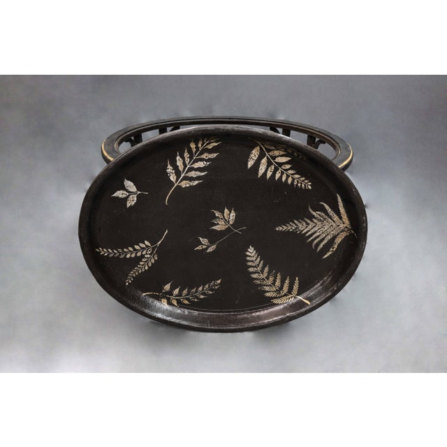 Fern Leave Painted Design Faux Bamboo Legged Tray Table For Sale In New York - Image 6 of 7