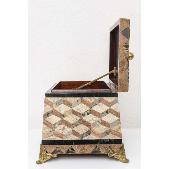 Aesthetic Movement English Regency Revival 1980s Tessellated Stone Box For Sale - Image 3 of 11