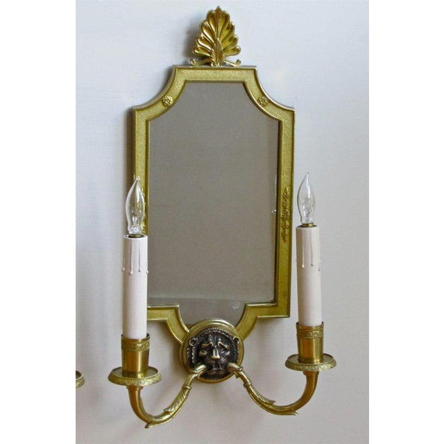 French 1940s French Brass Mirrored Lion Wall Sconces - a Pair For Sale - Image 3 of 11