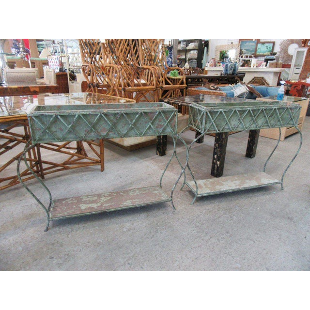 Rustic Green Painted Jardinieres - a Pair - Image 3 of 6