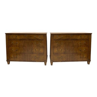 1970s Neoclassical Style Walnut Chests by Baker Furniture-A Pair For Sale