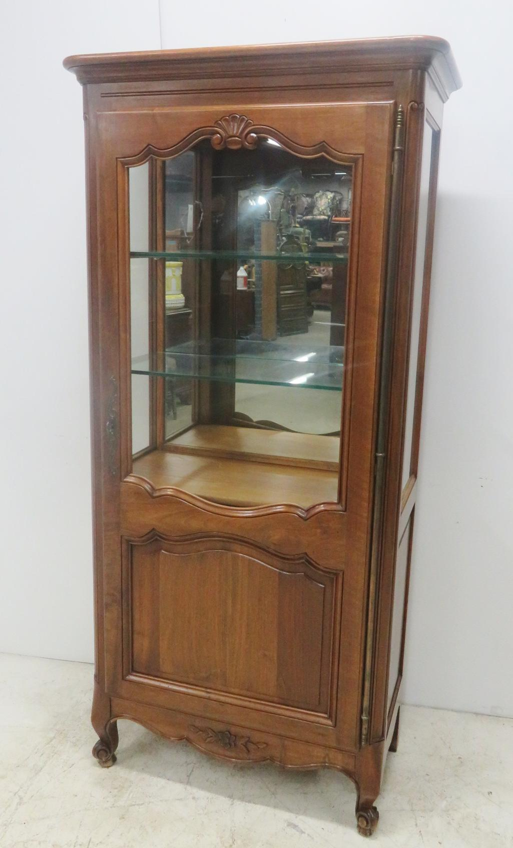 Superieur Country French Style Cherry China/curio Cabinet, Large Brass Hardware Shell  Carved On Door
