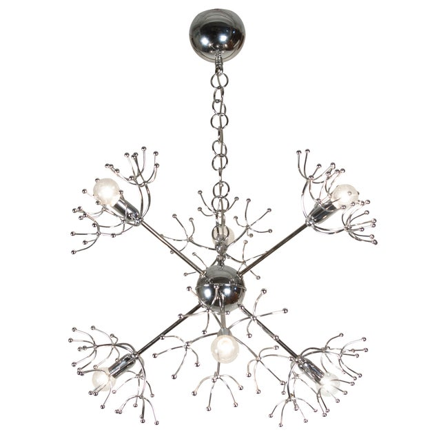 Italian 1960s Chrome Starburst Chandelier - Image 3 of 9