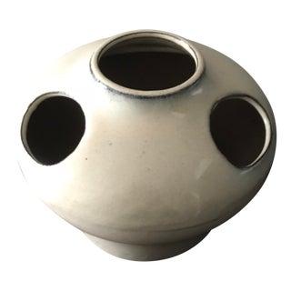 Mid-Century Modern 4-Hole Cream Pottery Vase