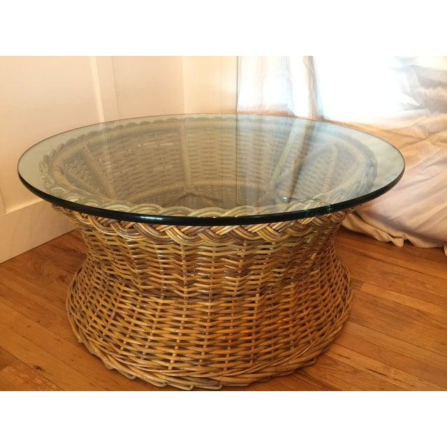 """Great indoor/outdoor vintage wicker and glass occasional table. This large round table had original 3/4"""" glass top..."""