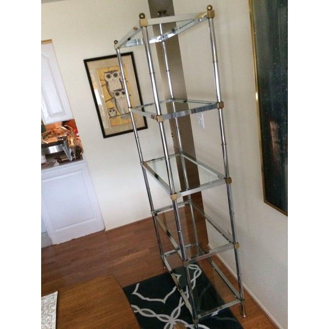 Maison Jansen 1960s Hollywood Regency Chrome Etagere For Sale - Image 4 of 13