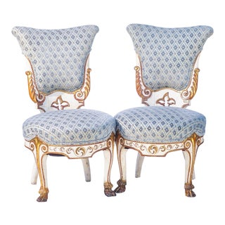 19th C. Venetian Painted Slipper Chairs With Paw Feet - a Pair For Sale