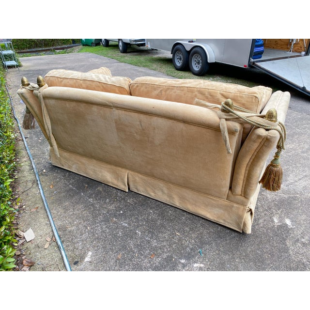 Vintage French Ivory Velvet Canapé Sofa With Adjustable Arms and Brass Finials For Sale In Houston - Image 6 of 13