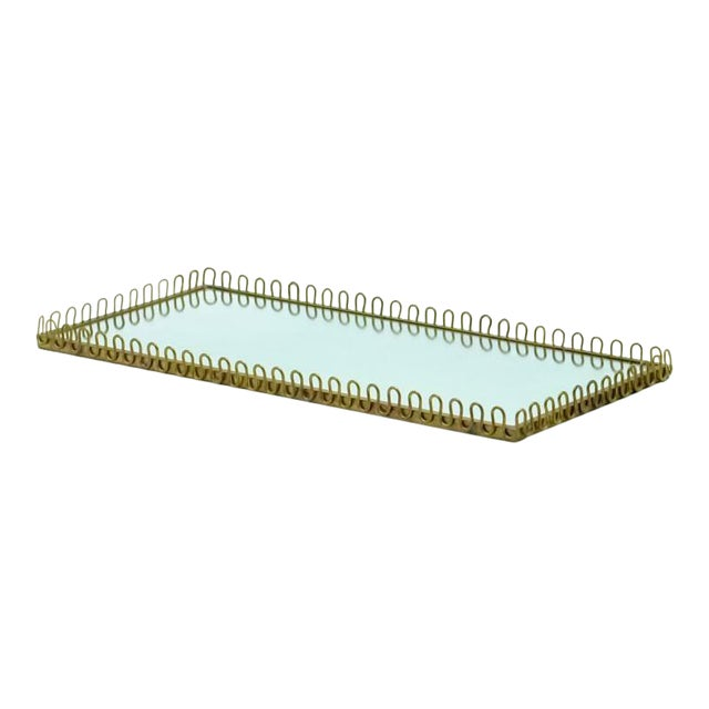 Mid-Century Brass Mirror Tray For Sale