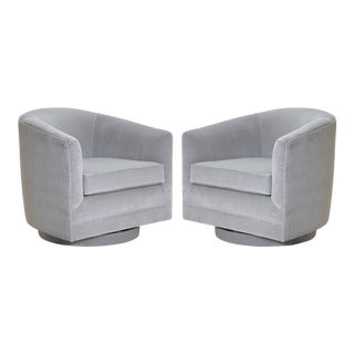 Swivel Tub Chairs in Dove Velvet, Pair For Sale