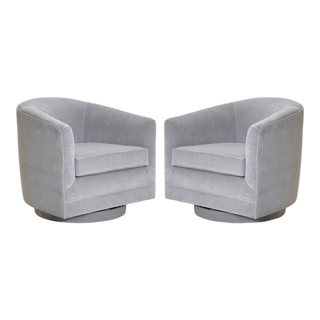 Swivel Tub Chairs in Dove Velvet, Pair For Sale