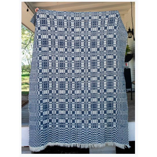Boho Chic 1860s Vintage Blue & White Coverlet For Sale - Image 3 of 4