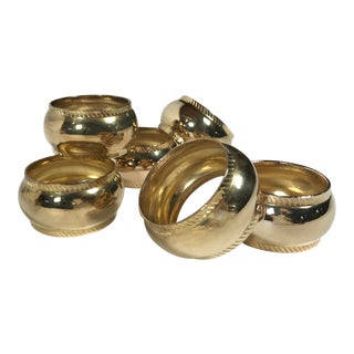 Brass Napkin Rings With Rope Detail, S/6 For Sale