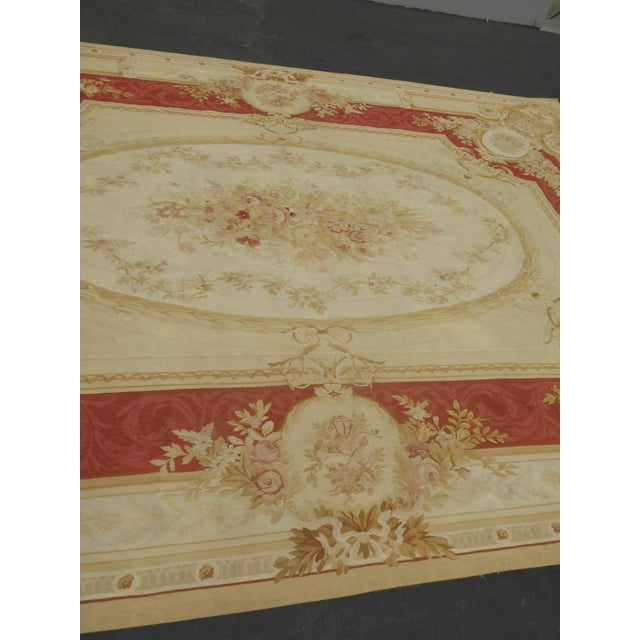 Vintage Tan Floral Aubusson Area Rug - 8′6″ × 11′7″ - Image 9 of 11