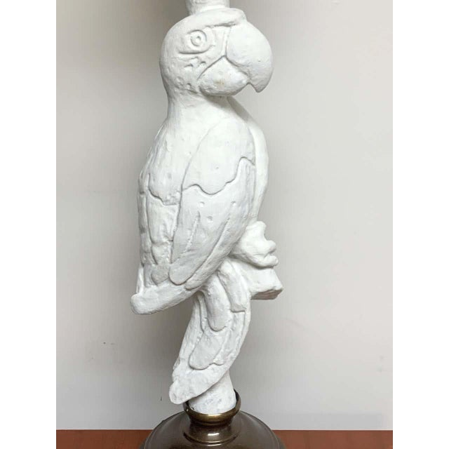 Metal White Lacquered and Brass Parrot Lamps - a Pair For Sale - Image 7 of 13
