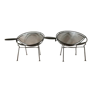 1950s Salterini Tempestini Radar Space Age MCM Mid-Century Modern Wrought Iron Lounge Patio Chairs With Tray Set #4 - a Pair For Sale