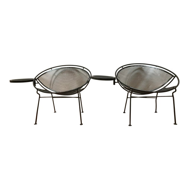 1950s Salterini Tempestini Radar Space Age Mid-Century Modern Wrought Iron Lounge Patio Chairs With Tray Set #4 - a Pair For Sale