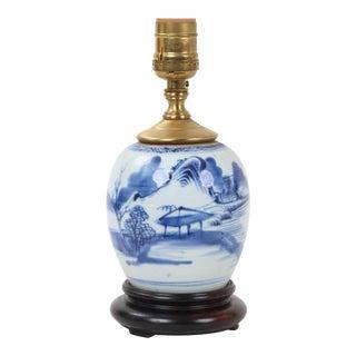 Vintage Chinese Blue and White Pavilion Landscape Ginger Jar Lamp For Sale