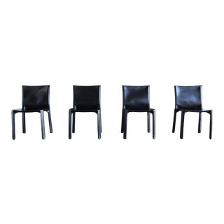 """1980s Vintage Mario Bellini for Cassina Black Leather """"Cab"""" Chairs- Set of 4 For Sale"""