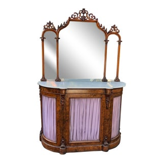 Antique Victorian Burl Walnut Sideboard Vitrine Buffet W Mirror For Sale