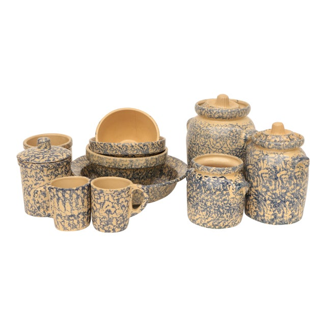 Blue Spongeware Pottery Instant Collection - Set of 11 For Sale