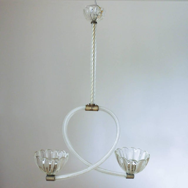 Vintage Italian pendant with clear ribbed Murano glass arms and two scalloped shaped cups and canopy, mounted on bronze...