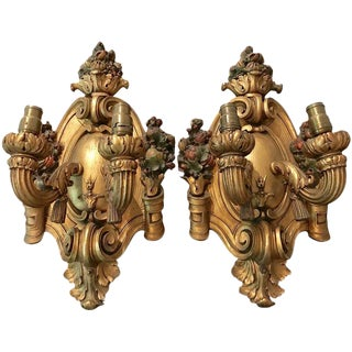 1920s Italian Giltwood Two-Light Wall Sconces - a Pair For Sale